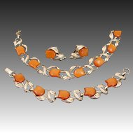 Vintage Signed Autumn Amber Orange Tulip Flower & Leaves Thermoset Parure by STAR