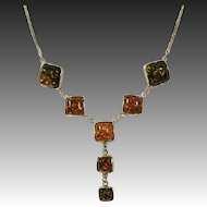 Sterling Silver & Bezel Set Amber Drop Necklace