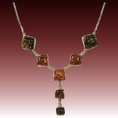 Sterling Silver & Bezel Set Amber Drop Necklace