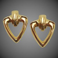 Large 14K Gold Estate Classic Vintage Earrings