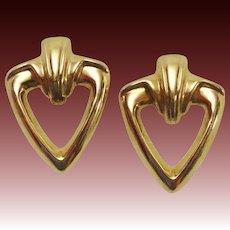 Large 14K Gold Estate Classic Vintage Earrings