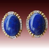 Estate 14K Gold Lapis Lazuli and Diamond Earrings