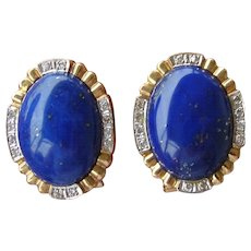 Estate 14K Gold Lapis Lazuli and Diamond Earrings