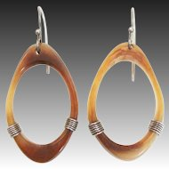 Natural Horn Hoop Dangling Drop Earrings