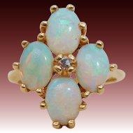 Brilliant Natural Opal & Diamond 14K Gold Ring