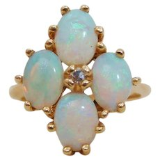 Brilliant Natural Opal & Diamond 14K Gold Ring