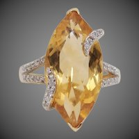 Unique Custom Made Estate 14K Gold 6.55ctw Citrine and Diamond Wrapped Statement Ring