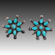 Native American Zuni Needlepoint Turquoise & Sterling Silver Star Cluster Earrings