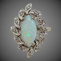 Brilliant Natural Marquise Cut Opal Cabochon & Diamond 14K White Gold Ring