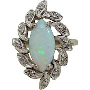 Brilliant Natural Marquise Cut Opal Cabochon & Diamond 14K White Gold Cocktail Ring