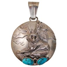Native American Signed Sterling Silver & Turquoise Wolf Talisman ~ Storyteller Pendant