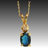 Brilliant Blue Genuine Sapphire & Diamond 14K Gold Pendant on 14K Gold Chain Necklace