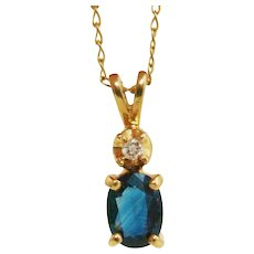 Brilliant Blue Genuine Sapphire & Diamond 14K Gold Pendant on 14K Gold Chain Necklace