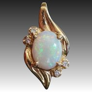 Natural Opal & Diamond 1.27ctw Designer Signed Estate 14K Gold Pendant