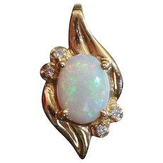 Natural Opal & Diamond 1.27ctw Designer Signed Estate 14K Gold Pendant