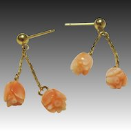 Carved Angel Skin Coral Dangling Flower 14K Gold Filled Earrings