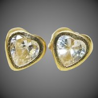 14K Gold Bezel Set Heart Cubic Zirconia 1.0 ctw Solitaire Post Earrings