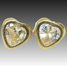14K Gold Bezel Set Heart Cubic Zirconia 1.0 ctw Solitaire Post Earrings