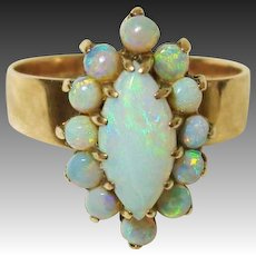 Exquisite 14K Rose Gold Natural Opal Halo Cluster Ring