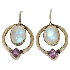 Moonstone Cabochon & Amethyst Sterling Silver Drop Earrings