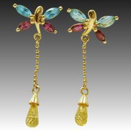 14K Gold Topaz & Amethyst Dainty Butterfly Citrine Drop Post Earrings