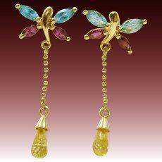 14K Gold Topaz & Amethyst Dainty Butterfly Citrine Drop Post Earrings