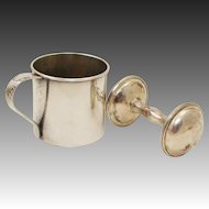 Vintage Silver Plated Ornate Rogers 1881 Baby Cup & Classic Child's Rattle