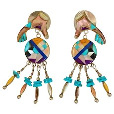 One of a Kind Native American Zuni Earrings Statement Sterling Silver Multi-gem Multi-color Inlaid Gem Stone Chandelier Drop Dangle