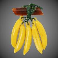 Early Art Deco Era Celluloid Dangling Hanging Banana Fruit Brooch
