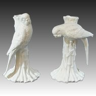 Vintage Fitz & Floyd White Parakeet ~ Parrot Birds on Bamboo Candle Holders Blanc de Chine Parrot