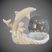Royal Haeger 1999 Double Leaping Dolphins Glass Fish Bowl Stand Statue
