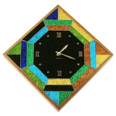 Rare & Retro Mid-Century Modern George Briard Signed Mosaic Foiled Art Glass Wall Clock - Red Tag Sale Item