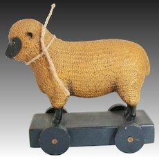Whimsical Folklore Collection 1983 Wood Composition Black Faced Lamb Sheep Pull Toy Replica