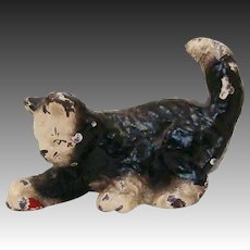 Adorable Cold Painted Metal Cat Playing with Red Ball