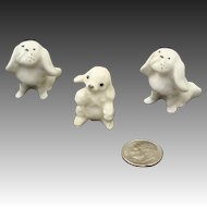 Tiny Bone China Pekingese & Hagen Renaker Poodle Pup Doll House Dog Figurines