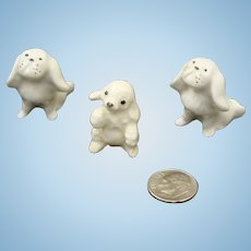 Tiny Bone China Pekingese & Hagen Renaker Poodle Pup Doll House Dog Figurines