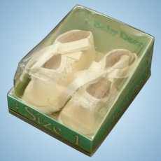 Vintage Pair of Baby Deer Crib ~ Doll Satin & Lace Shoes New in Original Package