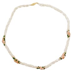 Classic Twisted Mother of Pearl Seed Beads with Jade and Coral Chip Accent Necklace