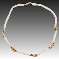 Vintage Twisted Mother of Pearl Seed Beads with Jade and Coral Chip Accent Necklace