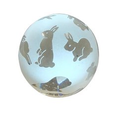 Retired 1993 Arthur Court Signed Frosted & Clear Polished Bunny Rabbit Glass Paperweight