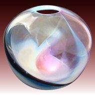 Breathtaking 1989 Signed Sharon Fujimoto Studio Art Glass Vase