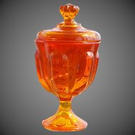 Mid-Century Modern Viking Glass Epic Persimmon Amberina 6 Petal Covered Candy Dish