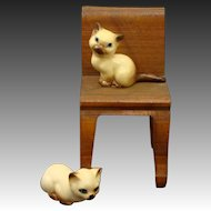 Tiny Miniature Siamese Cat Kittens Figurines