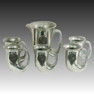 Hunter Jumper Horse Club Show Trophy Set Pewter French ~ Fox Hunter Horn Tankards & Pitcher Set