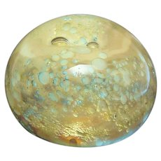 Breathtaking Signed & Dated 1978 Hand Blown Paperweight Moon Surface