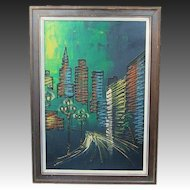 Mid Century Modern Signed ~ Shaw ~ City Night Life Drip Painting