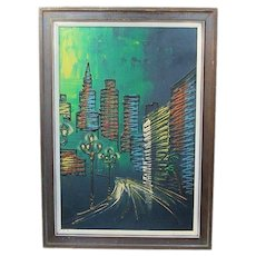 Mid Century Modern Signed ~ Shaw ~ City Night Life Drip Painting