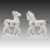 Proud Stallion Horse German Pair ~ Porcelain Mantel Set