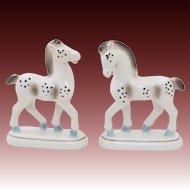 Proud Stallion Horse German Pair ~ Porcelain Mantel Set