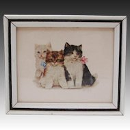 1950's Grace Lopez Framed Kittens Lithograph ~ Nursery ~  Children's Room